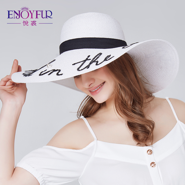 ENJOYFUR moda mektubu inci güneş şapkası geniş ağız yaz plaj şapkası 2018 yeni varış kaliteli hasır şapka