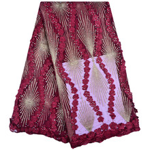 High Quality Flowers French Lace Fabric With Stones Wine Red Tulle For Party 12 Colors Available