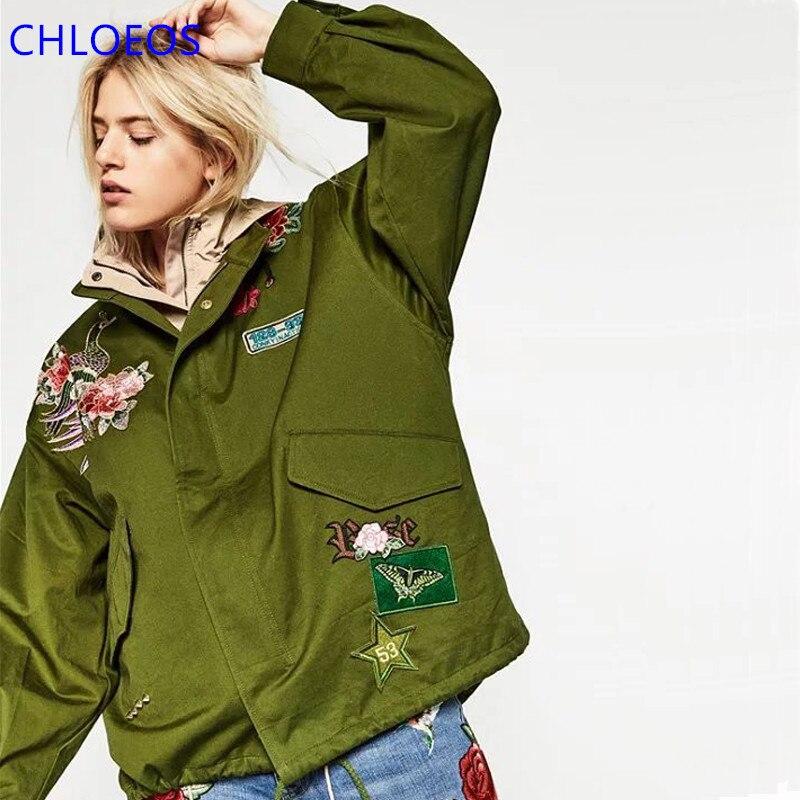 Fashion Bomber Jacket Women Otoño Prendas de Vestir Exteriores Verde Del Ejérci
