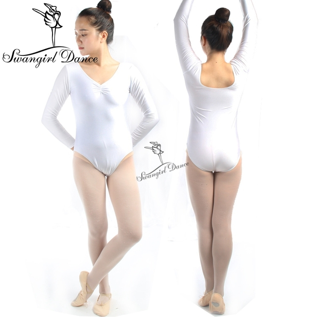 59c2fb478620 Adult long sleeLong Sleeve Spandex White Ballet Leotards For Women ...