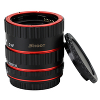 SHOOT 13 21 31mm Red Metal Mount Auto AF Macro Extension Tube Ring For Canon EOS