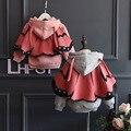Meninas novas de inverno outwear jaqueta de manga longa crianças hoodies do velo crianças grife casaco meninas do bebê borboleta roupas quentes X-1266