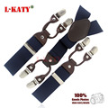 6 colors Man suspenders leather Men's braces 6 clips elastic suspenders adult straps 3.5cm 110cm Free shipping