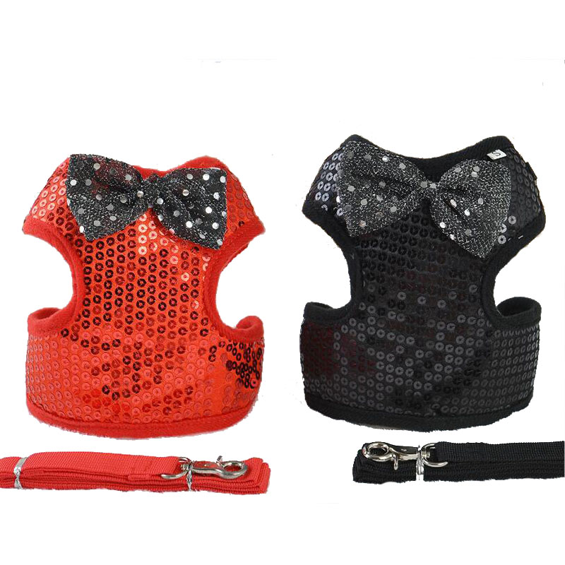Hot Sale Sequins Small Dog Cat Harness Vest Breathable Polyester Pet Walking Leads Vest Cat Protected Harness Vest With Leash