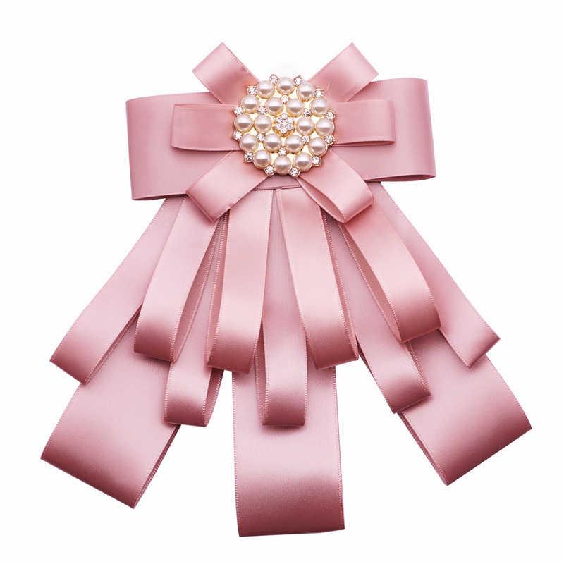 37cdb67f8ab6c Ribbon Bow Brooches For Women Fabric Tie Corsage Shirt Dress Luxury  Rhinestone Bowknot Pearl Brooch Pins Jewelry Accessories