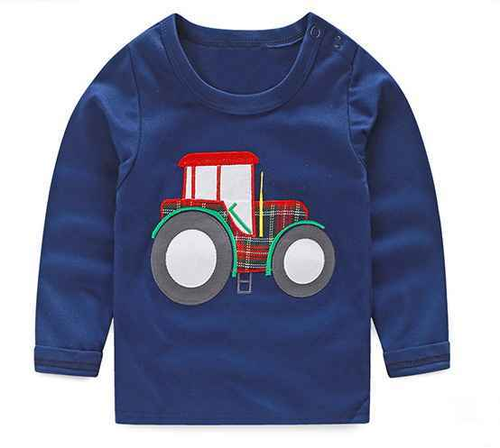 1-6Y Boys T-shirt Kids Tees Baby Boy shirts cardigan blouse jacket Children sweater Long Sleeve 100% Cotton lion cars