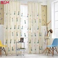 Linen Kids Curtains For Living Room Bedroom Deer Embroider Curtain Window Drape In Children Room Lovely Child Tulle AWB0331