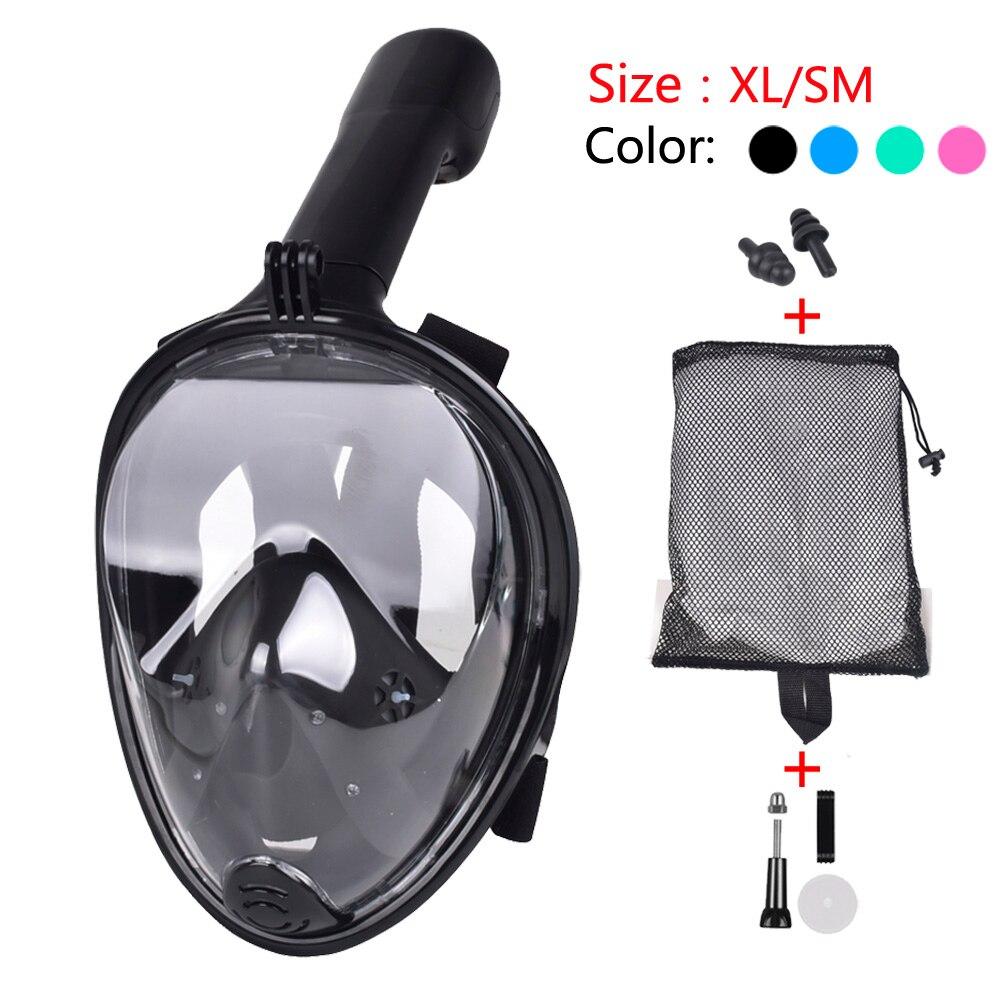 2018 nuevo de cara completa snorkel máscara de buceo natación subacuática formación de Mergulho snorkel máscara para Gopro Cámara