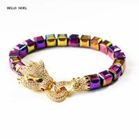 Multicolor Magnetic Bracelet Micro pave Zircon Golden Copper Leopard Hematite Stone for Magnet Hematite Beads Bracelet