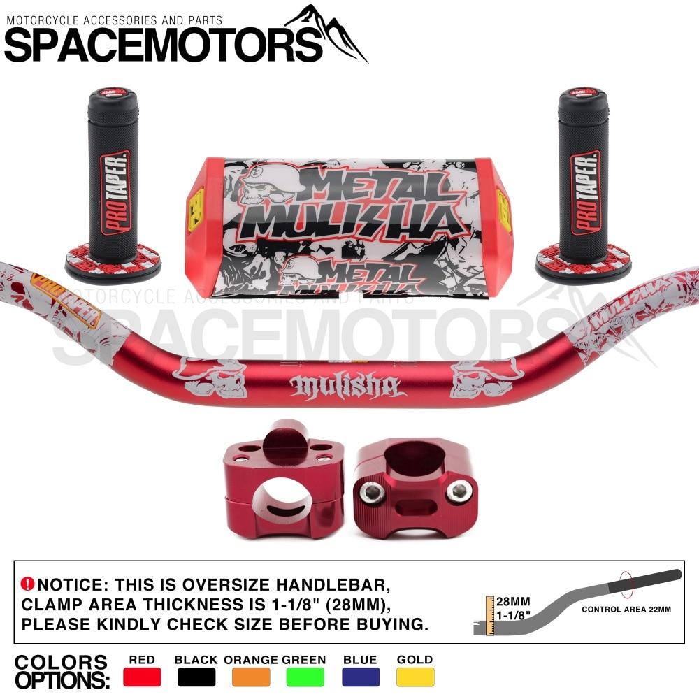 PRO CAKEN 7//8 to 1-1//8 Fat Handlebar Conversion Kit Motorcycle Handle Bar Upgrade 22 to 28mm CRF CR YZ WR KX KLX RM RMZ RMX DRZ Red