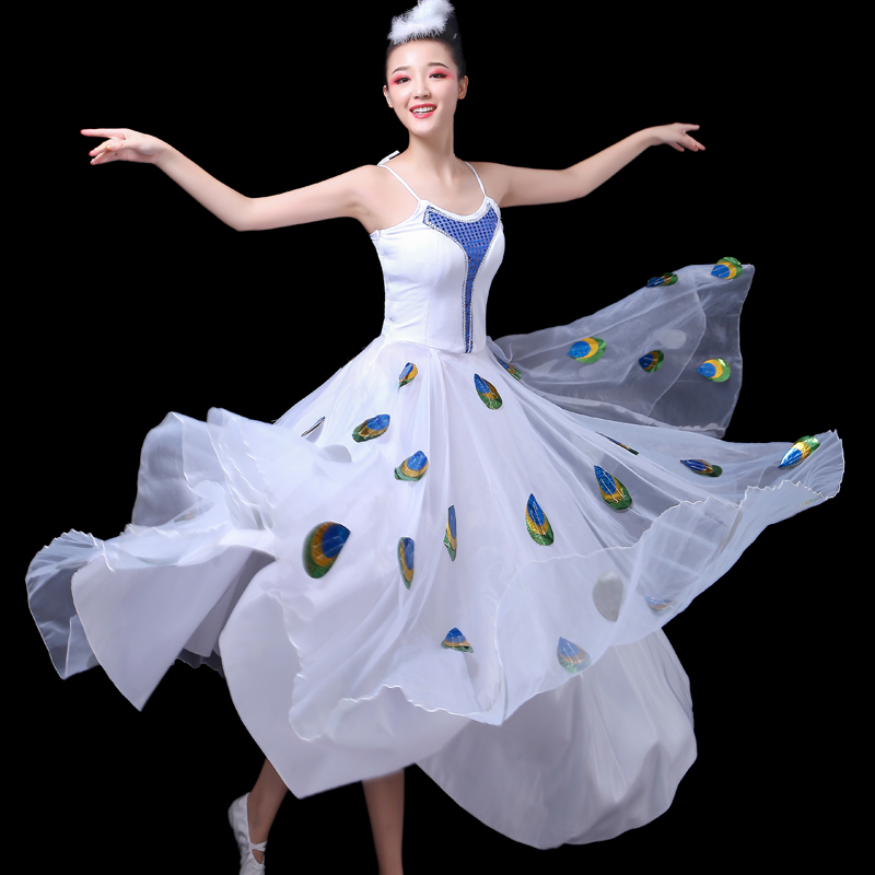 Chinese New Peacock Dance Dress Costume Fishtail Skirt Performance Dress for Adult Women Stage Performance Give Headwear