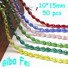 Free shipping multi color 10*15mm 50PCS Czech crystal beads,Tear Drop Crystal ,Pendant Beads, bracelet necklace Jewelry Making(China)