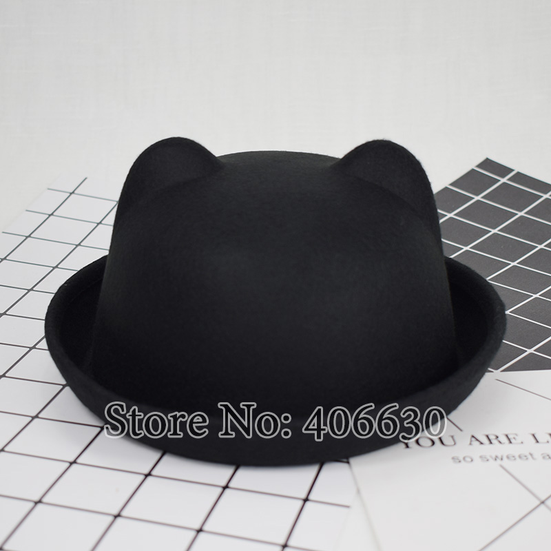 3cdfa27e781d2 Winter Artificial Wool Bowler Hats For Children Fedoras Cute Baby Top  Bucket Hats With Ears Free Shipping SDXB002-in Fedoras from Apparel  Accessories on ...