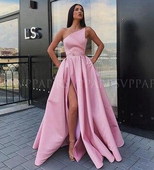 Long Elegant Evening Dress 2020 Simple High Slit Cheap Pink Satin Arabic Style Formal Evening Gowns