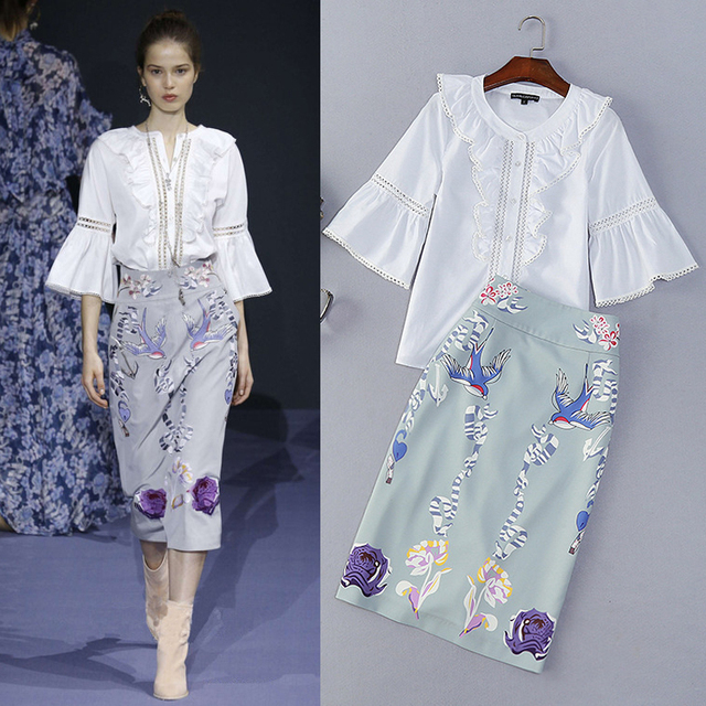 High Quality 2016 Summer And Autumn Fashion Fresh Round Neck Horn Sleeve Button Shirt + Printing Flounced Career Suits Female
