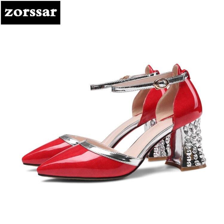 08e3c95727 Dedo vermelho Festa Tornozelo Strass No Sandálias Salto Tira Cinza Mulheres Sapatos  De Apontado ...