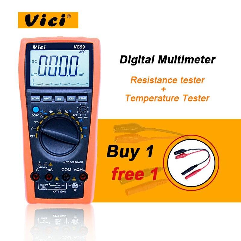 VICI VC99 Auto Gamme Multimètre Numérique 1000 v 20A AC DC Ampèremètre Voltmètre testeur de résistance + Température Testeur
