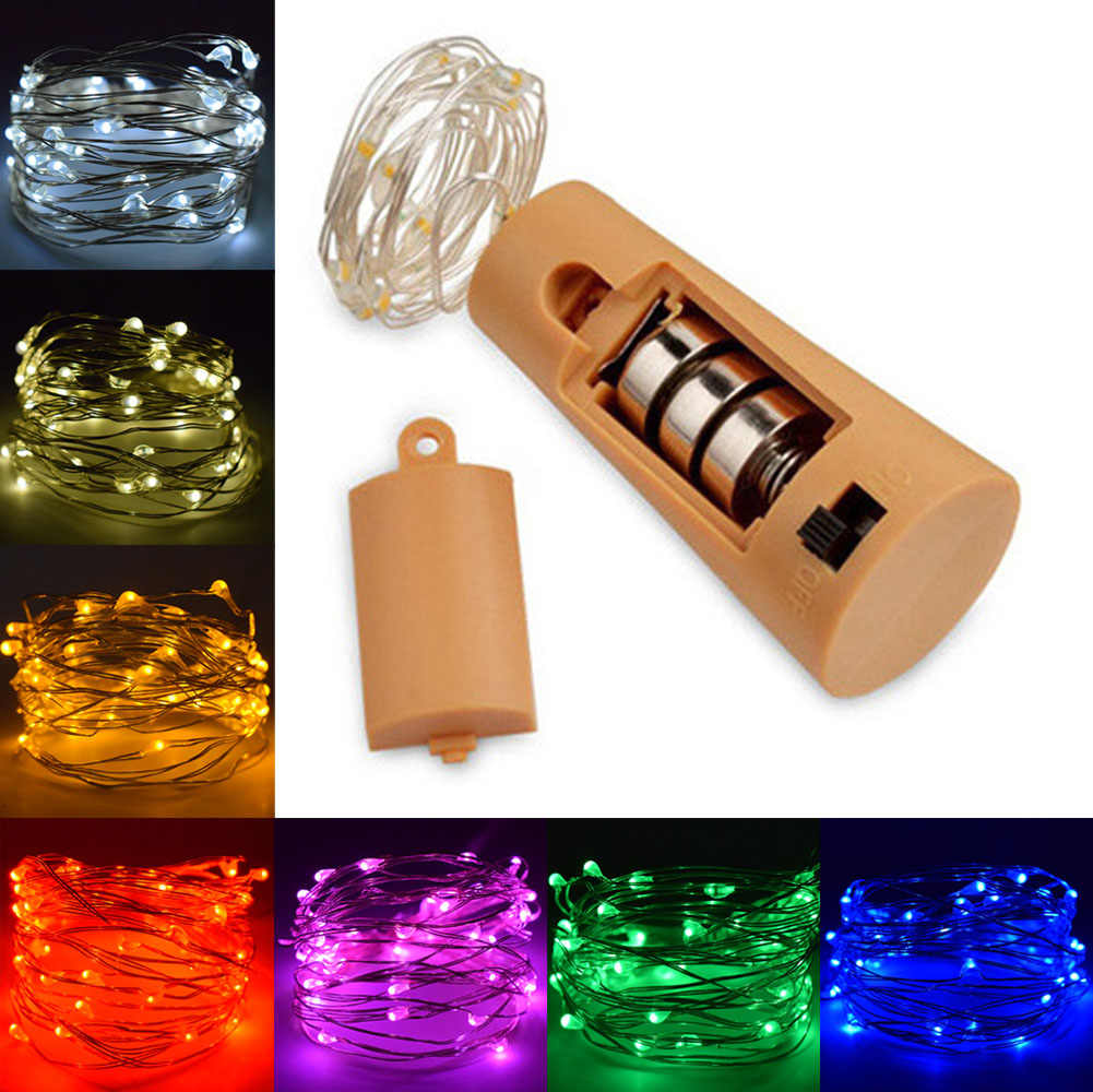 Copper Silver LED String lights Holiday Bottle Stopper Lighting For Christmas Tree Haloween Wedding Party Wedding Decoration