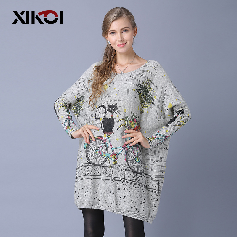 XIKOI Autumn Fashion Women Long Loose Sweaters Full Sleeve Slash Neck Cat Print Knitted Sweater Ladies Casual Pullovers Sweaters