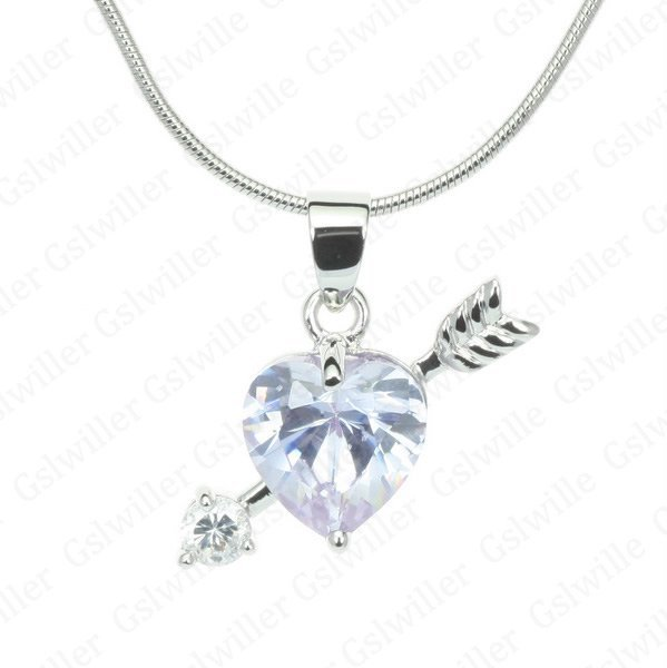 Free Shipping:exclusive sales 18K White Gold Plated lilac Crystal Cupid Love Woman 's Necklace