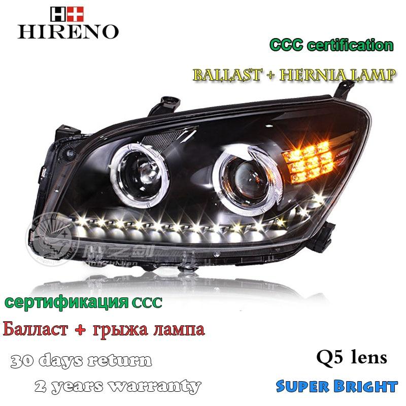 Hireno Headlamp for 2009-2011 Toyota RAV4 Headlight Assembly LED DRL Angel Lens Double Beam HID Xenon 2pcs 2pcs purple blue red green led demon eyes for bixenon projector lens hella5 q5 2 5inch and 3 0inch headlight angel devil demon
