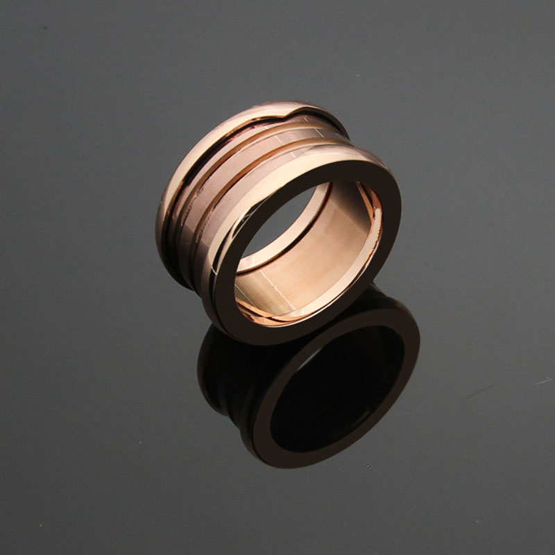 2018 New Fashion Style bulgaria Jewelry Making Luxury Titanium Steel Brown ceramic Rings for Women Men Couple Engagement Ring