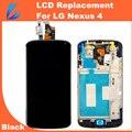 Ll trader de alta qualidade cor preto para google nexus 4 display lcd assembléia digitador da tela de toque com frame para lg E960 + Ferramentas