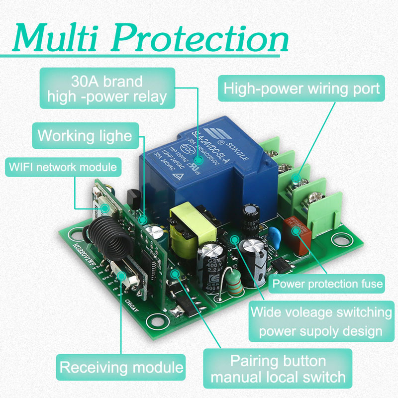 110V AC85 250V High Power 30A Remote Relay Switch 1 Gang Remote Module Wireless Water Heater Control Smart Home DIY Device in Home Automation Modules from Consumer Electronics