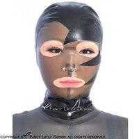 Preto Com Preto Transparente Sexy Capa De Látex Com Diagonais Boca Olhos Narina Aberta Zipper Voltar Máscara De Borracha Plus Size TT-0166