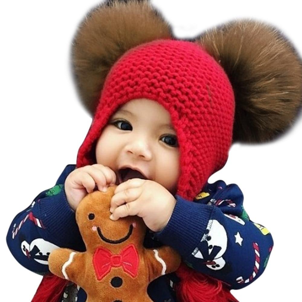 Men's Skullies & Beanies Painstaking Baby Boys Girls Wool Knitted Winter Cap Beanie Real Raccoon Fur Pompom Hats For Kids 14cm Fur Ball Plush Skullies Bonnet Enfant Good Taste Apparel Accessories