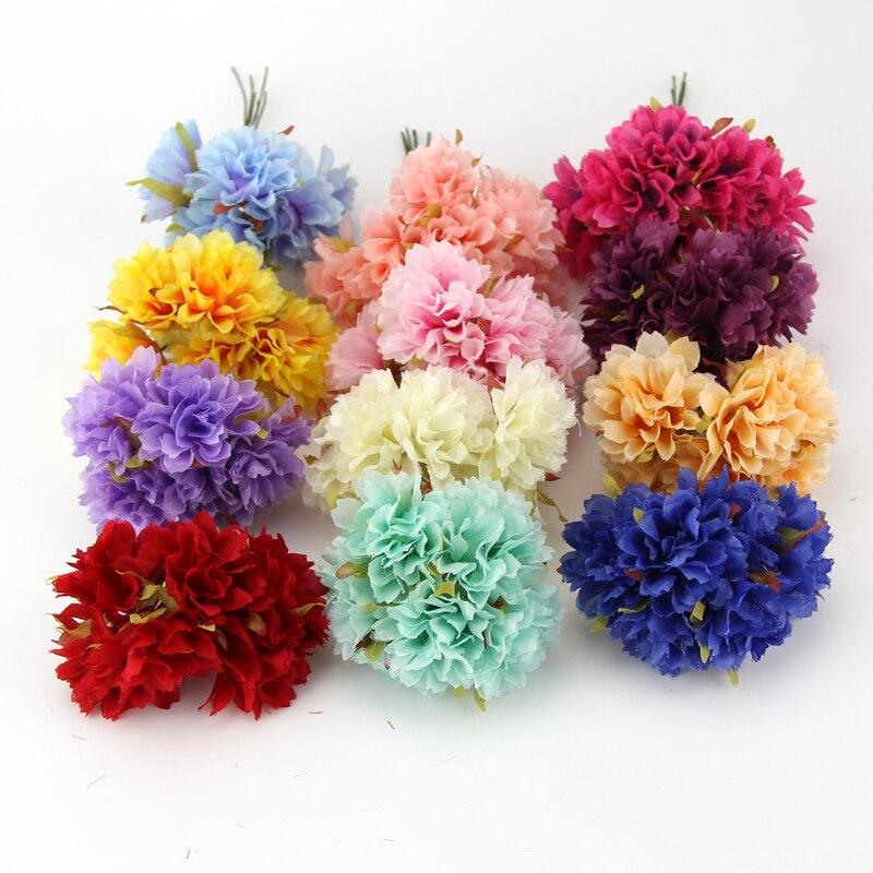 №6 stks diy zijde kunstbloemen boeket multicolor scrapbooking bloem ...