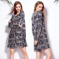 Fashion Sping Summer Autumn New Vestidos Women Casual Plus size Full sleeve Floral Printed T shirt Dress