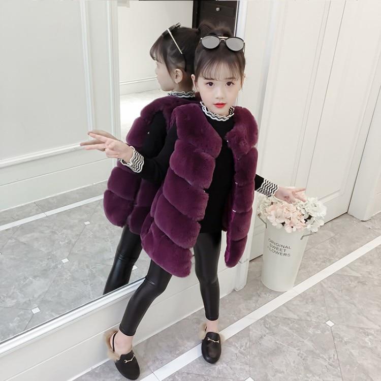 Girls Fur Vest Winter Waistcoat For Girls Solid Kids Outerwear Elegant Warm Kids Jackets Spring Autumn Girl Clothes 4-10 Year