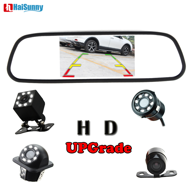 """HaiSunny High Definition 800*480 5"""" TFT LCD Color Car Rearview Mirror Monitor + Auto LED Rear View Camera Parking System"""