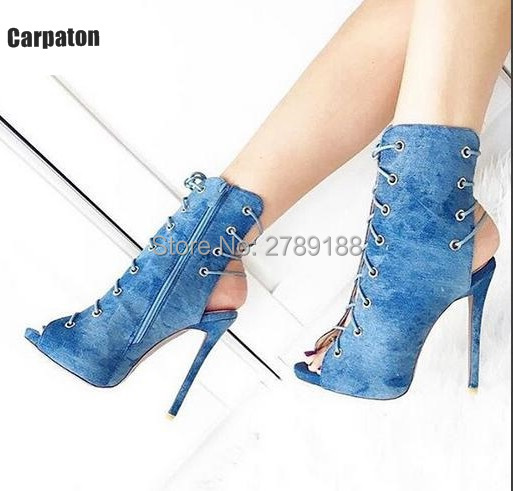 9cbd13cb4bf High Quality Double Lace Up Open Toe Booties Summer Gladiator Sandals Women  Ankle Boots High Heels Pumps Shoes Woman Size 43