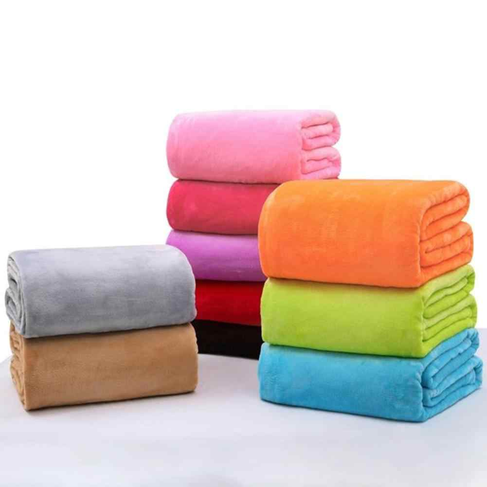 50*70cmSuper Soft Blanket Flannel Aircraft Blanket Solid Color Coral Fleece Cover Warm Sheets Blankets Sofa Office Home Textile