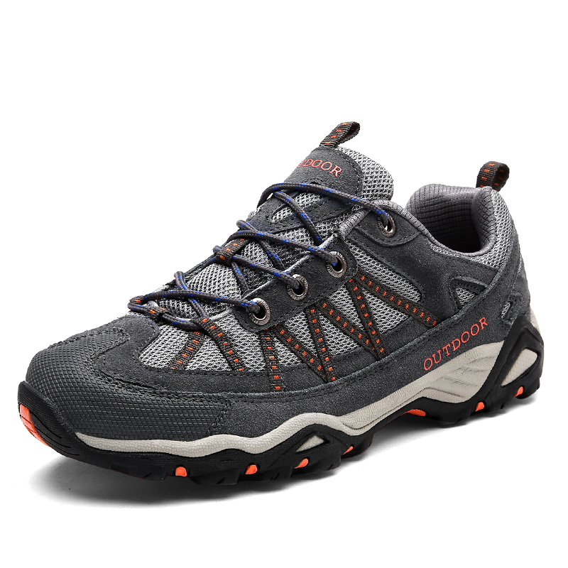 Brand Sneakers Men and Women Genuine Leather Hiking Shoes Outdoor Mountain Climbing Trekking Shoes Unisex Non-slip Sports Shoes