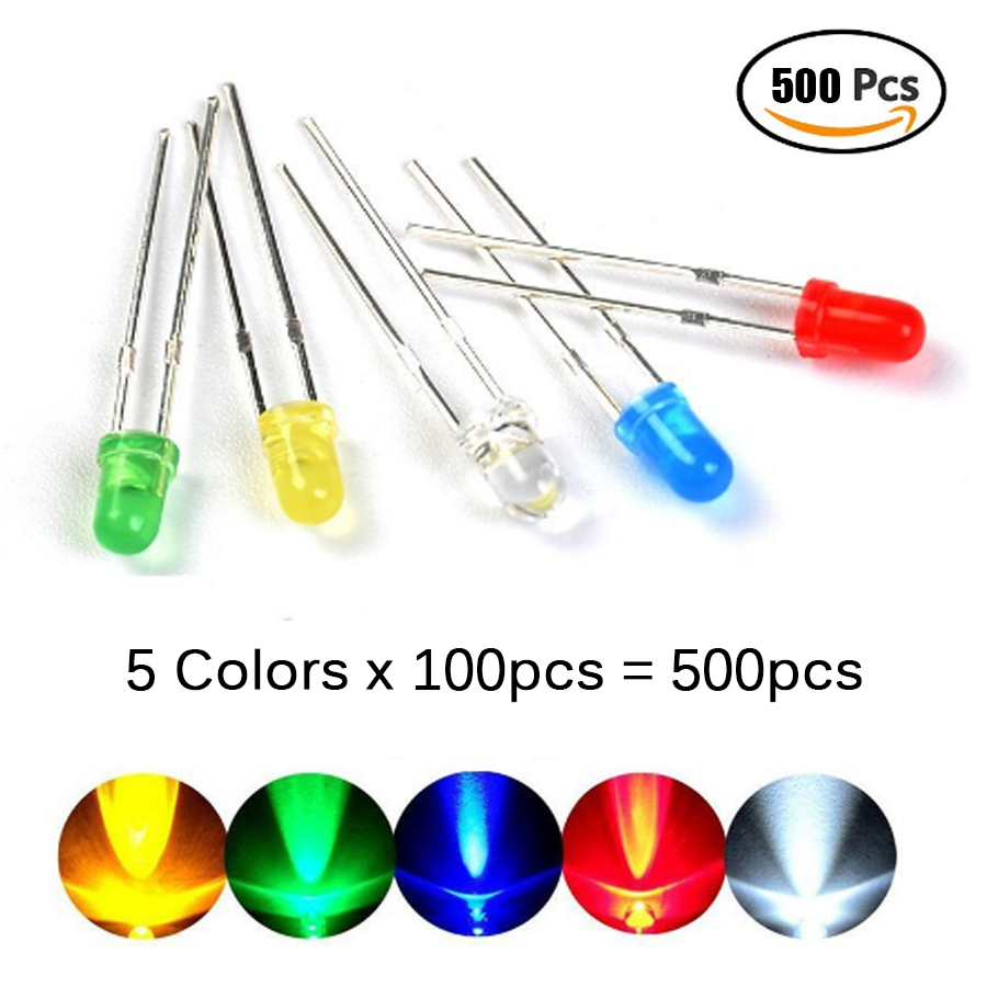500Pcs/lot 3MM LED Diode Assorted Kit Mixed Color Red Green Yellow Blue White 5color Each 100pcs Diy Led Diode Kit Leds Set