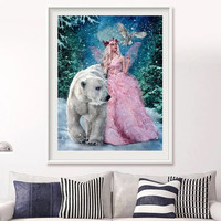 5D Diy Diamond Painting Full Round Diamond Draw Beauty And The Beast Wall Art Painting Decoration Home Canvas Print Unframed