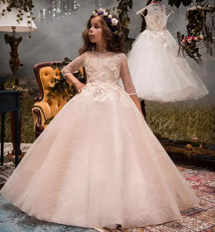 Princess New Gorgeous Flower Girl Dresses For Wedding Beads Lace Jewel Neck Girls Party Pageant Gown Custom Any Size vintage flower girl dresses for wedding jewel neck ankle length girls pageant gown with lace beaded sash backless communion gown