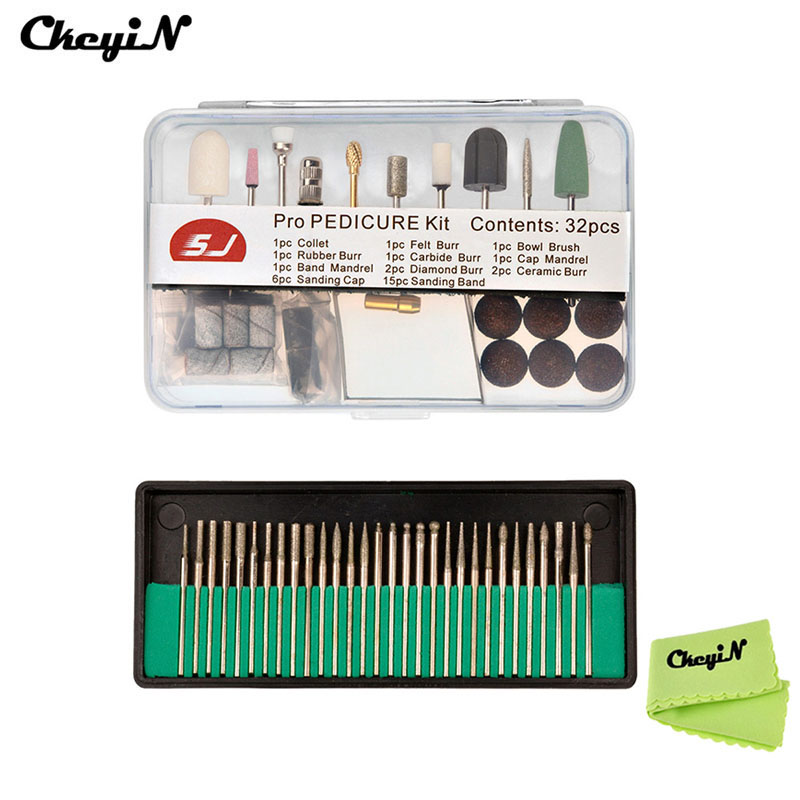 CkeyiN Pro 32Pcs Manicure Pedicure Tool Set Kit+30Pcs Nail Drill Bits Polish Grinding Head For Electric Nail Drilling Machine