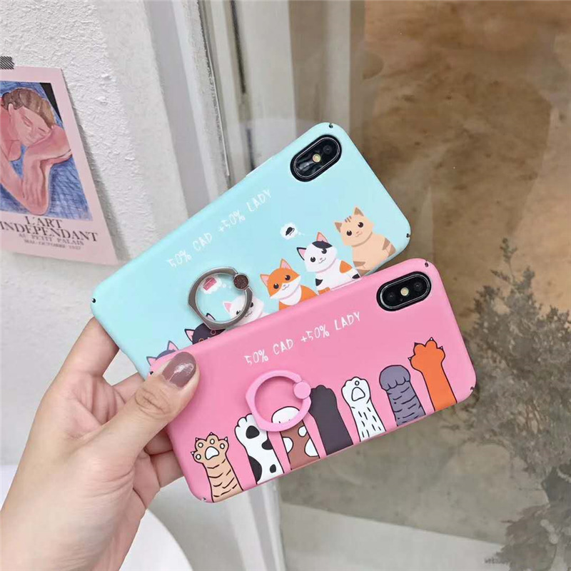 Lovely Stand Holder Cases Coque For iPhone X 6 6s Plus 8 7 Plus Funny Cat Paws Cartoons Lady Couple Finger Ring Back Covers Capa