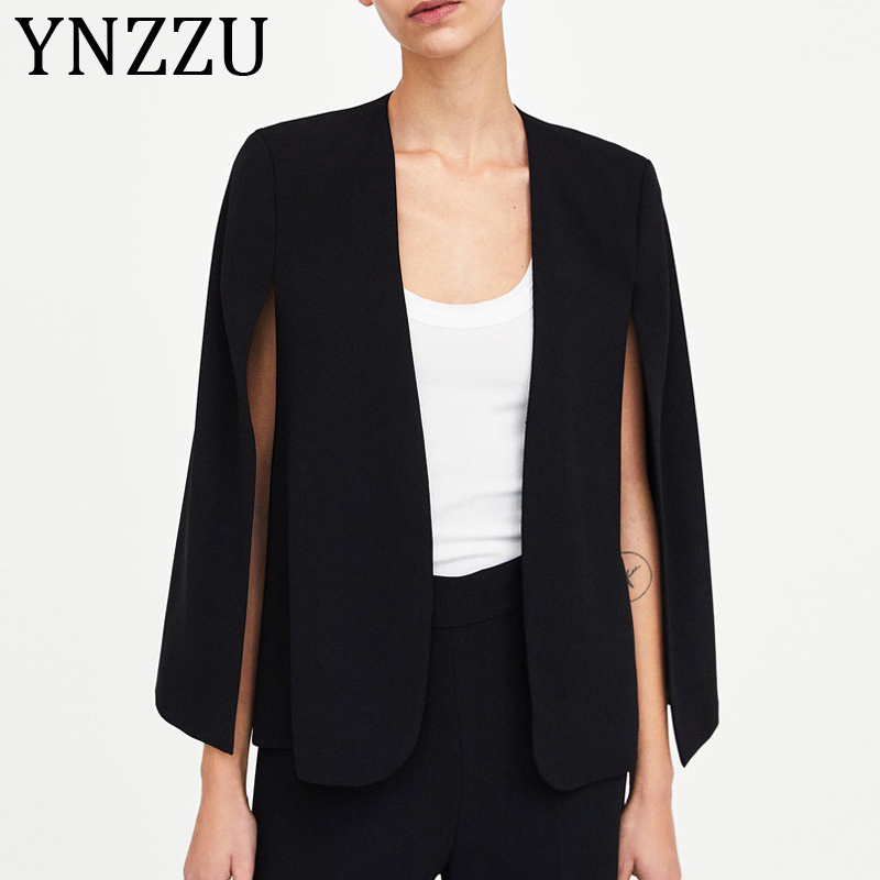 YNZZU Elegant Black Poncho Office Lady Cloak Open Front Blazer 2019 Autumn Split Lady Workwear Spring Women Suit Coats AO973