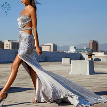 Ameision Sexy Side Split Cutout Silver Sequined Mermaid Prom Dresses Long Backless Women Formal Maxi Evening Party Dress cutout side fit
