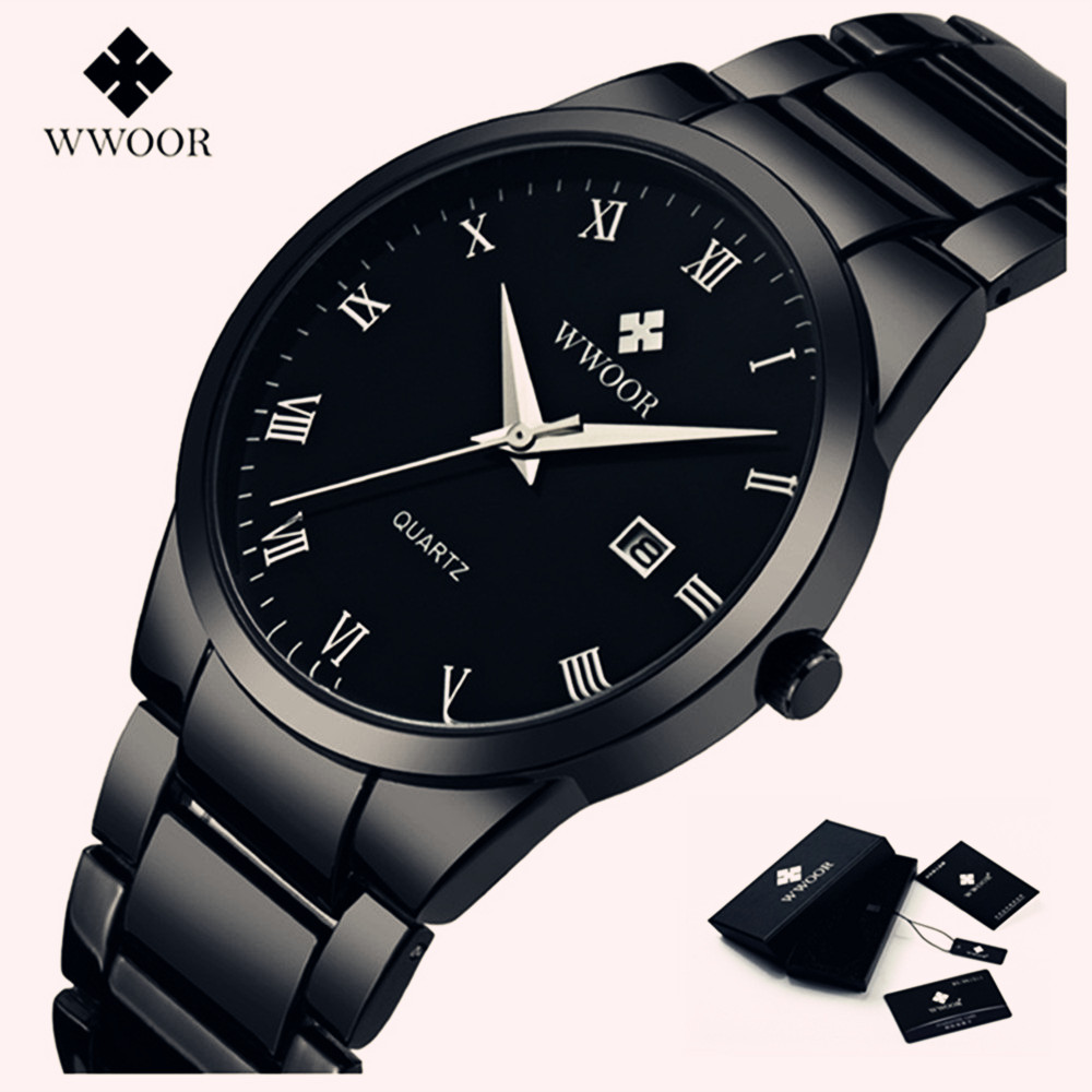 Brand WWOOR Watch Men Waterproof Luxury Casual Black Steel Men's Quartz Analog Watches Men Date Male Clock relogio masculino wwoor watch men luxury ultra thin men steel quartz watch date 50m waterproof clock male casual wrist watches relogio masculino