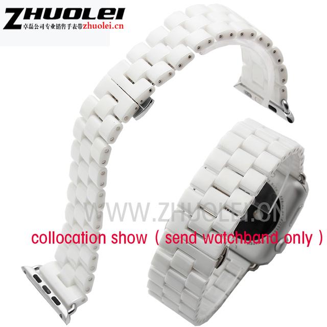Nueva llegada de la pulsera banda de manzana de cerámica correa de reloj de alta calidad de pulido de cerámica de la correa blanco y negro 42mm iwatch venda