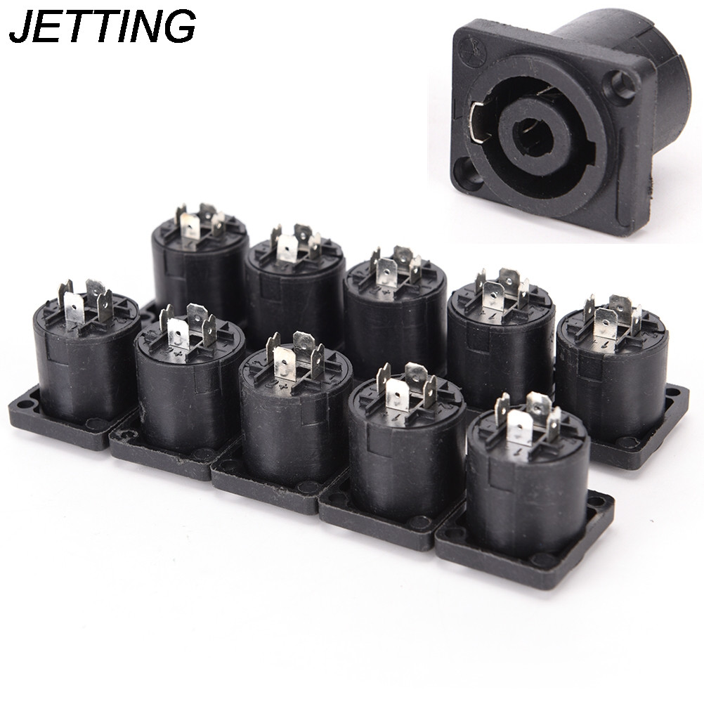 10pcs/lot <font><b>4</b></font> <font><b>Pin</b></font> Speakon Female Jack Socket <font><b>Connector</b></font> Audio Loudspeaker Amplifier Converter for PA Amplifier <font><b>Cable</b></font> image