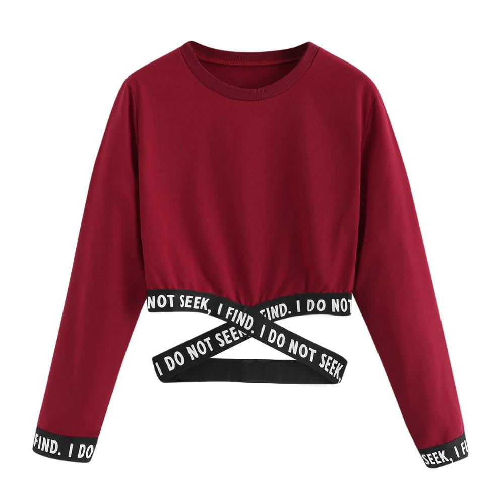 Crop sweatshirt women hoodies winter pullover Harajuku moletom Autumn Female Letters Hoodies clothes sudadera mujer худи xxxtentacion