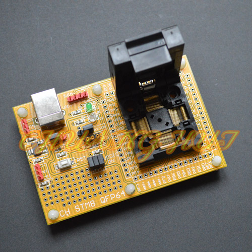 IC TEST STM8 QFP64 Core board STM8A STM8S STM8L Download seat test socket Programmer adapter TQFP64 LQFP64 0.5mm pitch