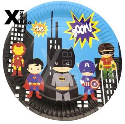 Nette Batman Cartoon Papier Teller Teller Tasse Banner Flagge Serviette Tischdecke Stroh Kuchen Topper Tasche Box Spielzeug Favor Party Dekoration geschenk